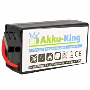 Akku-King Akku für Parrot AR Drone 2.0  AR Drone Quadrocopter - Li-Polymer 2000 mAh